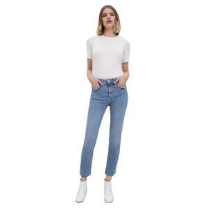 ZARA Women's Light Wash Raw Hem High Rise Cropped Denim Jeans Size 6 - Pre-Owned